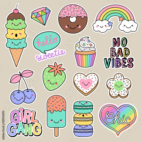 Aluminium Macarons Set of girl fashion patches, cute cartoon badges, fun stickers desserts vector, positive thinking words design.