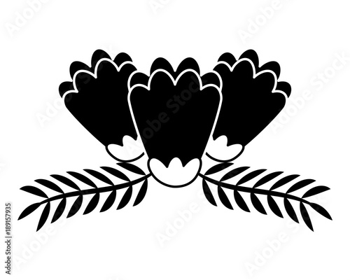 outlined flower and leaves branch natural vector illustration
