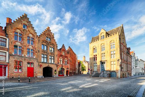 Fotobehang Brugge Bruges - View on Jan Van Eyck Square and church in Brugge, Belgium