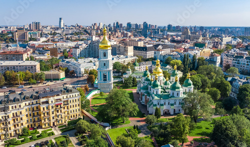 Fotobehang Kiev Aerial top view of St Sophia cathedral and Kiev city skyline from above, Kyiv cityscape, capital of Ukraine