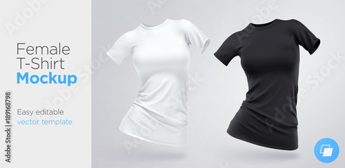Realistic Template Blank White And Black Woman T Shirt Cotton