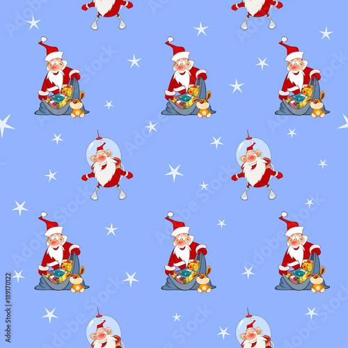 Deurstickers Babykamer Background with Cute Santa Claus. Seamless Pattern