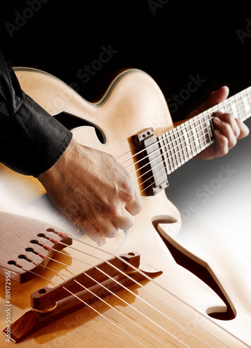 guitarist playing jazz guitar Poster