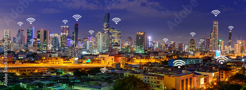 wifi in city / wifi sign and high building in the city panorama view - 189175369