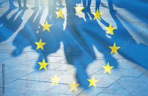 Leinwandbild Motiv EU Flag and shadows of People concept picture