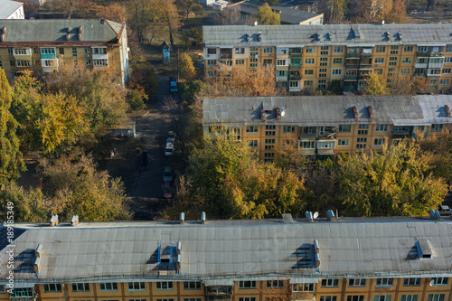 Fotobehang Kiev Residential area of the city from a height. Kiev, Ukraine