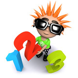3d Funny cartoon punk youth holding numbers - 189186981