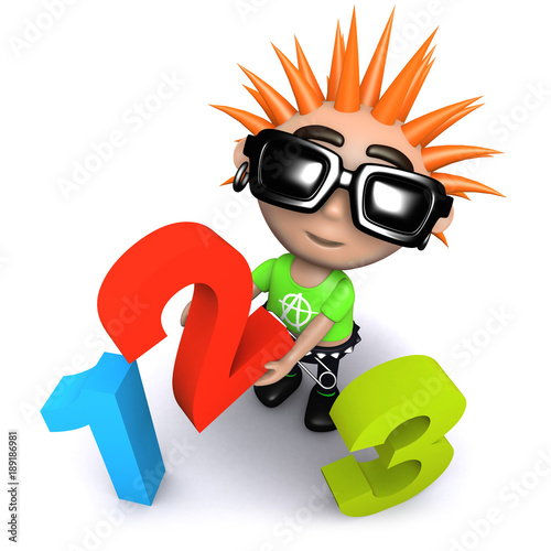 3d Funny cartoon punk youth holding numbers