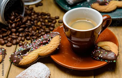 Sticker Caffè espresso con biscotti di carnevale