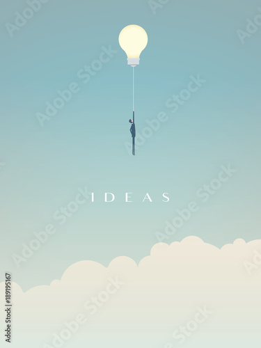 Businessman flying on a lightbulb ballon vector. Symbol of creativity, innovation, creative ideas and solutions.