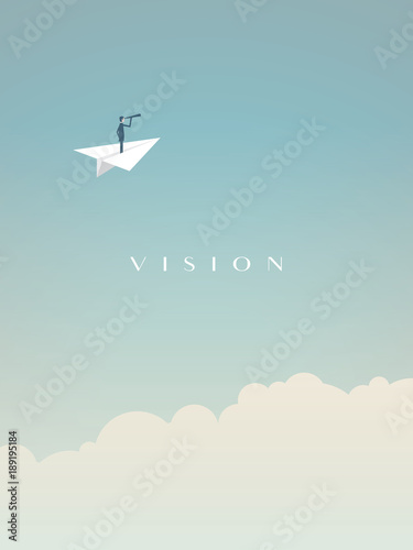 Business visionary vector concept with businessman flying on paper plane above clouds. Symbol of vision, success, opportunity and future.