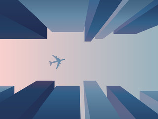 View up from the street between skyscrapers with plane flying in the sky, vector background. Corporate financial district architecture concept with perspective.