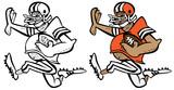 Funny Football Player Cartoon Vector Graphic Illustration