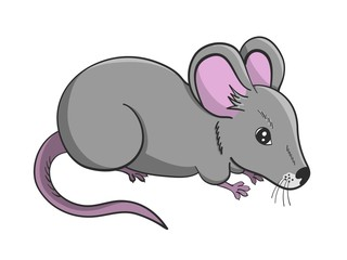 Cartoon illustration of grey cute mouse