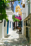Street view in Driopis (Driopida), the traditional village of cycladic island Kythnos in Greece - 189206522