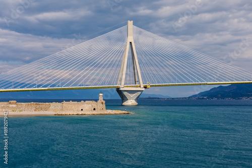 Aluminium Rio de Janeiro View of suspension bridge Rio-Antirio in Greece