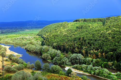 Foto op Canvas Pistache Autumn landscape on Mures Valley, Romania, Europe