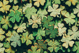 Pile of wooden green four-leaf clovers - 189211138