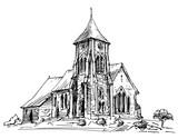 Country Church. Hand drawn illustration. - 189211745