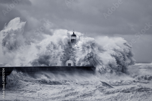 Stormy big waves Poster