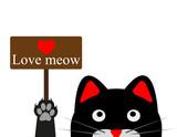 Black funny cat. Vector illustration