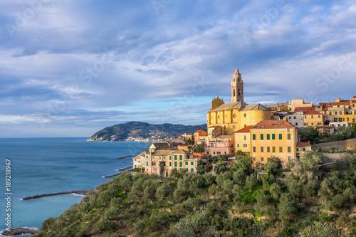 In de dag Liguria Cervo - medieval hilltop town located on Ligurian coast, province of Imperia, Liguria, Italy