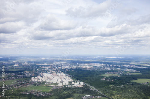 Moscow landscape. Aerial view. Cloudy sky - 189226946