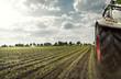 Traktor auf Maisfeld