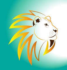 Portrait of lion, vector icon
