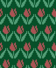 knitted winter flower pattern vector knitwear pattern on fabric