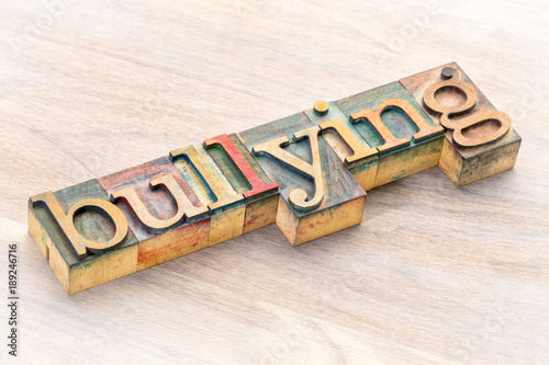 bullying word abstract in wood type