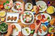 Spring Easter main dish celebration friend concept