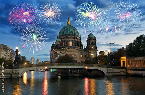 Foto op Canvas Berlijn Fireworks over Berliner Dom (Berlin cathedral), Germany