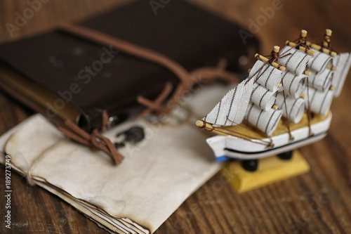Fotobehang Schip Old wooden ship with sails and masts toy on a stand. Vintage and