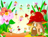 Fairies fly around the mushroom house