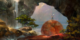 Fototapety painted colorful fantasy landscape with a traveler and a waterfall