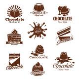 Vector iconis of chocolate candy desserts splash