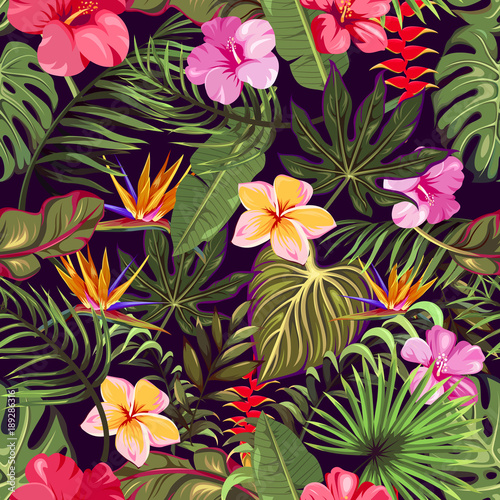 seamless pattern with tropical leaves and flowers - 189286316