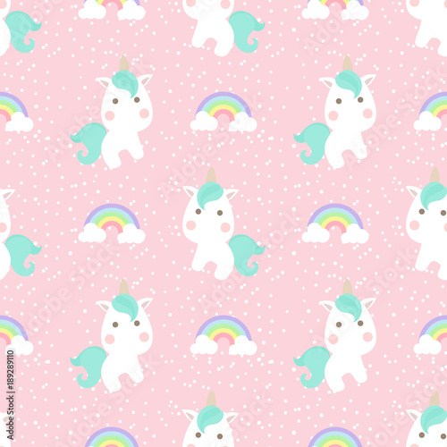 Cotton fabric Cute unicorn with rainbow and dot seamless pattern