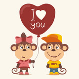 I love you! Funny monkey girl gives balloon heart for monkey boy. Greeting card for Valentine's Day. - 189304555