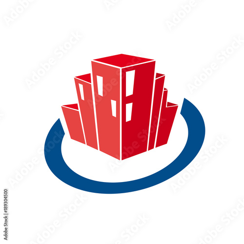 Vector abstract skyscrapers inside circle . Real estate and services concept
