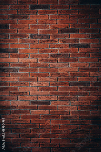 Red brick wall texture grunge background may use to interior design - 189304984