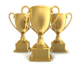 award cups concept       3d illustration