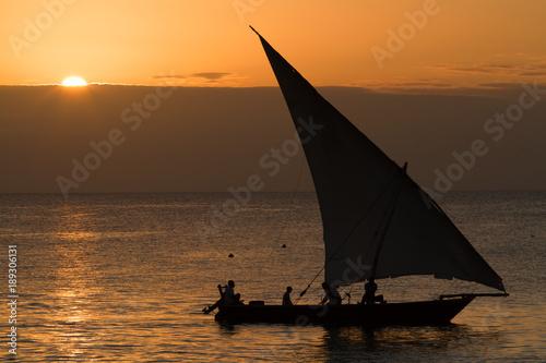 Aluminium Zanzibar the beautiful beach and sea of zanzibar during the sunset in the indian ocean