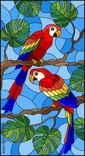 ilustracja-w-witrazu-stylu-z-para-ptakow-parakeet-na-galeziastym-tropikalnym-drzewie-przeciw-niebu