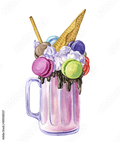 Foto op Aluminium Milkshake watercolor milkshake with ice cream