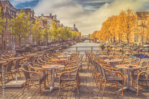 Foto op Canvas Amsterdam View of empty outdoor cafe.