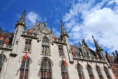 Fotobehang Brugge The Provinciaal Hof - Province Court neogothical building on the Market place in Bruges, Belgium