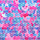 Watercolor mosaic. Bright summer pattern with watercolor cubes. - 189323356