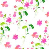 beautiful pink flowers , on a white, pattern